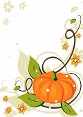 Grunge background with pumpkin and flowers
