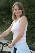Woman Relax Smiling Bike