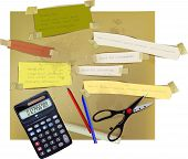 paper backgrounds, calculator, scissors and pensils