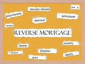 stock photo of pegboard  - Reverse Mortgage Corkboard Word Concept with great terms such as retirement payments money and more - JPG