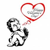 stock photo of cupid  - angel or cupid isolated hand drawn vector llustration - JPG