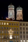 Towers Of Frauenkirche In Munich By Night