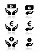 Hands with euro banknote, coin vector icons set