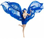 Woman In Blue Flower Crown In Chiffon Waving Fabric Flying wings Over White