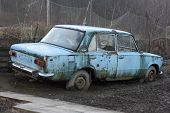 picture of junk-yard  - In many countries there is any problem with the disposal of old cars - JPG