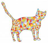Cat silhouette with mosaic design illustration
