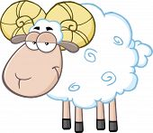 Cute Ram Sheep Cartoon Mascot Character