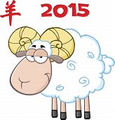stock photo of ram  - Ram Sheep Cartoon Character Under Text 2015 - JPG