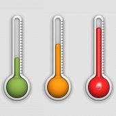 foto of thermometer  - detail of three thermometers with different temperatures - JPG