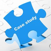 Education concept: Case Study on puzzle background