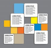 Rounded Colorful Paper Squares - Vector Infographic Banners
