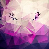 foto of deer horn  - Valentine day background with pink and violet triangle geometric pattern - JPG