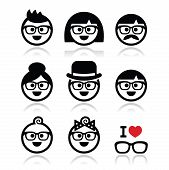 pic of grandpa  - Vector icons set of people in glasses of different ages - JPG