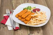 Plate With Chips And Fish Fingers