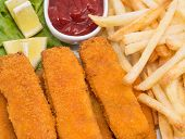 Fish Fingers With Chips (macro View)