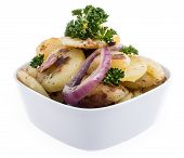 Bowl With Fried Potatoes Isolated On White