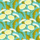 Vector seamless floral pattern with dandelions