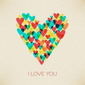 I Love You Valentine Retro Hearth Card