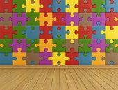 image of wood pieces  - Toys room with colorful puzzle on wall and wooden floor  - JPG