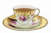 picture of crockery  - Tea in an antique cup with saucer and dessert plate - JPG