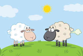 stock photo of fart  - White Sheep And Farting Black Head Sheep On A Meadow Cartoon Character - JPG