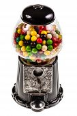 foto of gumball machine  - a bubble gum vending machine isolated over white background - JPG