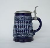 stock photo of stein  - Blue Beer Stein - JPG