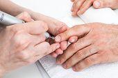 manicure male hands in beauty salon