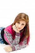 Lying Fashion Portrait Of Young Beautiful Girl