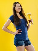 Happy Woman Drinking Beer