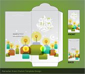 Vector Flat Muslim Pelita Oil Lamp Ramadan Money Green Packet Design. Translation: Selamat Hari Raya