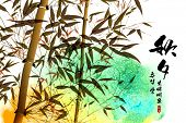 foto of mid autumn  - Vector Bamboo Ink Painting for Korean Chuseok  - JPG