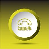 Contact us. Plastic button. Raster illustration.