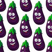 Happy eggplant or aubergine seamless pattern