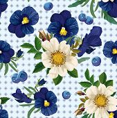 Seamless Pattern Of  The Roses, The Pansies And  The Blue Berries