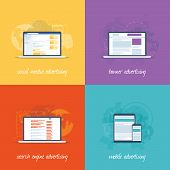 Flat web design icons for internet marketing concepts.