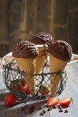 Chocolate icecreams in basket in rustic setting