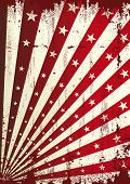 Grunge star and red sunbeams background. A vintage dirty and torn background for a poster