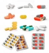 stock photo of prophylactic  - pills and capsules isolated on white background - JPG