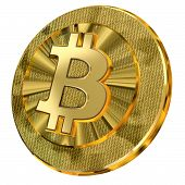 Golden Bitcoin With Binary Code Design