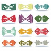 Several Colored Silhouettes Of Bow Tie With Shadow