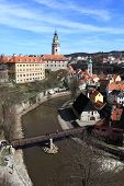 Aerial View Of Town And Castle Cesky Krumlov