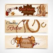 stock photo of cowboys  - Wild west cowboy rodeo feel freedom colored banners set isolated vector illustration - JPG