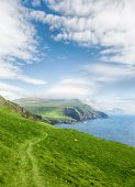 stock photo of faroe islands  - Trekking on the beautiful island Mykines - JPG