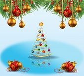 Blue And White Christmas Background With Fir Branches And Christmas Balls
