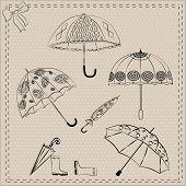 vector set of umbrellas