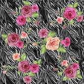 Dark stylish animal pattern with roses. Vector seamless background