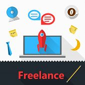 Vector flat icons for freelance or business