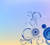 Pattern Of Blue Circles And Curved Lines On Gradient Background