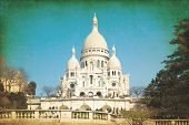 Vintage Sacre-Coeur church in Montmartre,paris